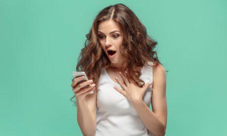 sexting online suprised woman